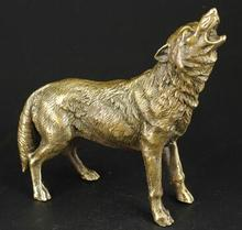 free shipping China Collect Manual Sculpture Vivid Fierce Wolf Statue Ornaments(China)