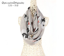 New Fashion Women Neck Scarf Wraps Winter Warm Snowman Pattern Shawl Soft Ring Scarves Christmas Gift For Lday