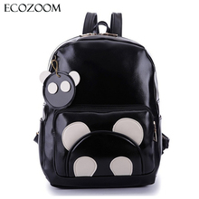 Fashion Women PU Leather Panda Backpack Teenagers Girls Cartoon School Bags Student Book Bag Cute Black White Patchwork Design
