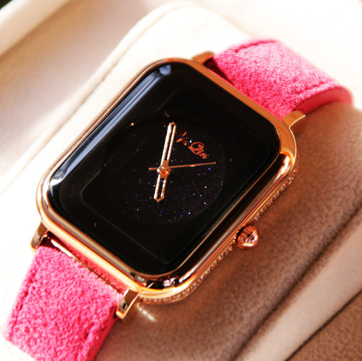 YAQIN luxury brand cowhide strap women watch business casual lady quartz waterproof watch pink purple dial<br>