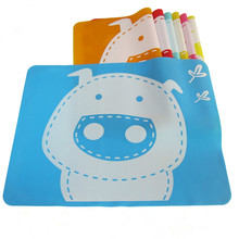 Hot Cute Pig Cartoon Kid Baby Boys Girls Silicone Coasters Mat Rectangle Placemats Heat Resistant Non Slip Table Mats