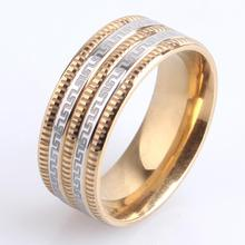 8mm gold Gear Border Great Wall 316l Stainless Steel finger rings for men women wholesale
