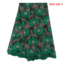 (5yards/lot)Green&black Lace Material big Design African Party Dress Lace Tulle Fabric For Evening Dress Long Skirt June-08-2017