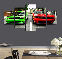 5 Pieces Canvas Prints Challenger green red cars  painting Wall Art Panels Poster Pictures For Living Room