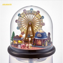 doll house Ferris wheel wooden park doll houses miniature home assembling Dollhouse diy ball toys kit totoro figure(China)