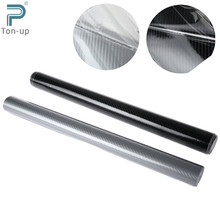 152 x 50cm DIY Car Sticker High Glossy 3 Layer 5D Carbon Fiber Car Wrapping Vinyl Film Decals Black & Silver