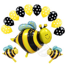 BUMBLE BEE Bumble  Bee Polka Dots Birthday PARTY 9pcs Mylar Latex Set Kit tyranids bees balloon bee pet animal party foil globos