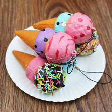 1 x Random Color Vividly Ice Cream Slow Raising PU Mobile Phone Straps Release Stress Squishy Key Chain Toy P30