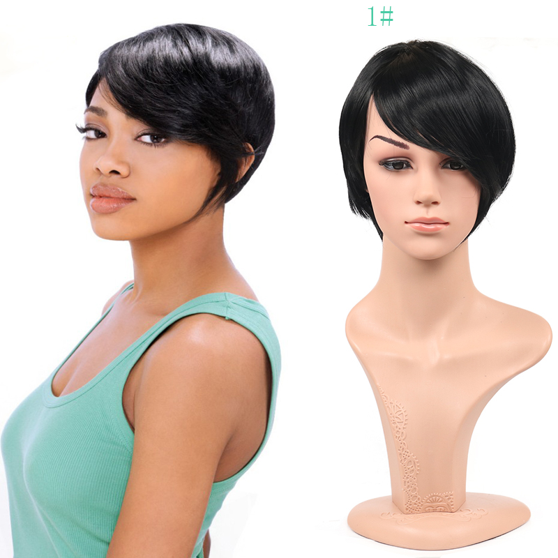 Short wig peruca straight synthetic wigs black Pixie wigs for black women cheap wig cosplay perruque femme free hairnet<br><br>Aliexpress