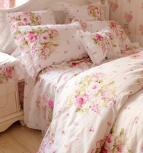 Princess pink pastoral bedding sets,twin full king queen,classic american country bedclothes cotton bedskirt pillow quilt cover(China)