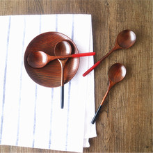 Japan and South Korea Style Natural Log Round Red Black Tail Spoon Spoon Creative Wood Tableware