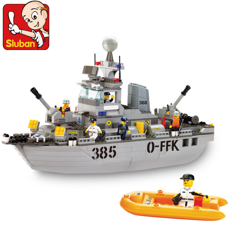 Sluban model building kits compatible with lego city ship 750 3D blocks Educational model &amp; building toys hobbies for children<br>
