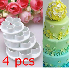 4PCS/Lot, Food Grade Plastic, Rose Flowers Shape  For Cookie Cutter, Fondant Bakeware Decorating, Rice, Sanwich Molds 020069
