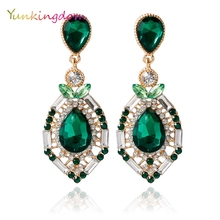 Yunkingdom Ethnic National Earings Earrings For Women Gold Color Green Crystal CZ Earring Anniversary Drop Earrings Wholesale