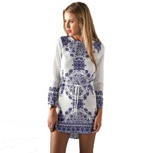 Summer Classic Vestidos Blue And White Porcelain Pattern Women Fashion Straight Dresses Girls Brand Long Sleeve Casual Dresses