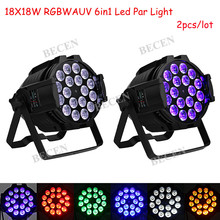 2pcs 18x18w RGBWA UV led par lights 6in1 par can lights Aluminum alloy dj par light shipping from US(China)
