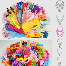Hot Sell 26 Item/Set Accessories=10PCS Mix Sorts Beautiful Barbie Clothes Fashion Dress+6Plastic Necklace+10 Pair Barbie Shoes(China)
