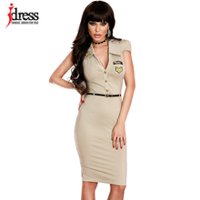 IDres Women Sexy Military Dress with Belt Button Front Turn Down Collar Embroidery Sexy Summer Dresses Bodycon Vestido Clubwear