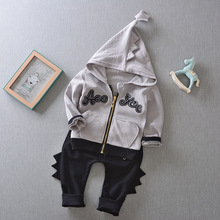 Fashion Baby Boys Dinosaur Hooded Zipper Shirt + Pants Suit Spring New Children Clothing Sets Trendy Boy Kids 2-Piece Clothes