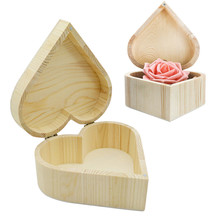 Storage Boxes Heart Shape Wood Box Jewelry Box Wedding Gift Makeup Storage Earrings Ring Organizer with magnet buckle handicraf