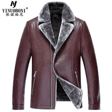 2017 Famous Designer Thick Warm Winter Men Faux Fur Leather Jackets Automotive Style Fur Lined Leather Jackets Mens 2017 Y6036(China)