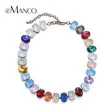 //Crystal opal choker necklaces titanium necklace// colorful crystal necklace summer jewelry women 2015 eManco