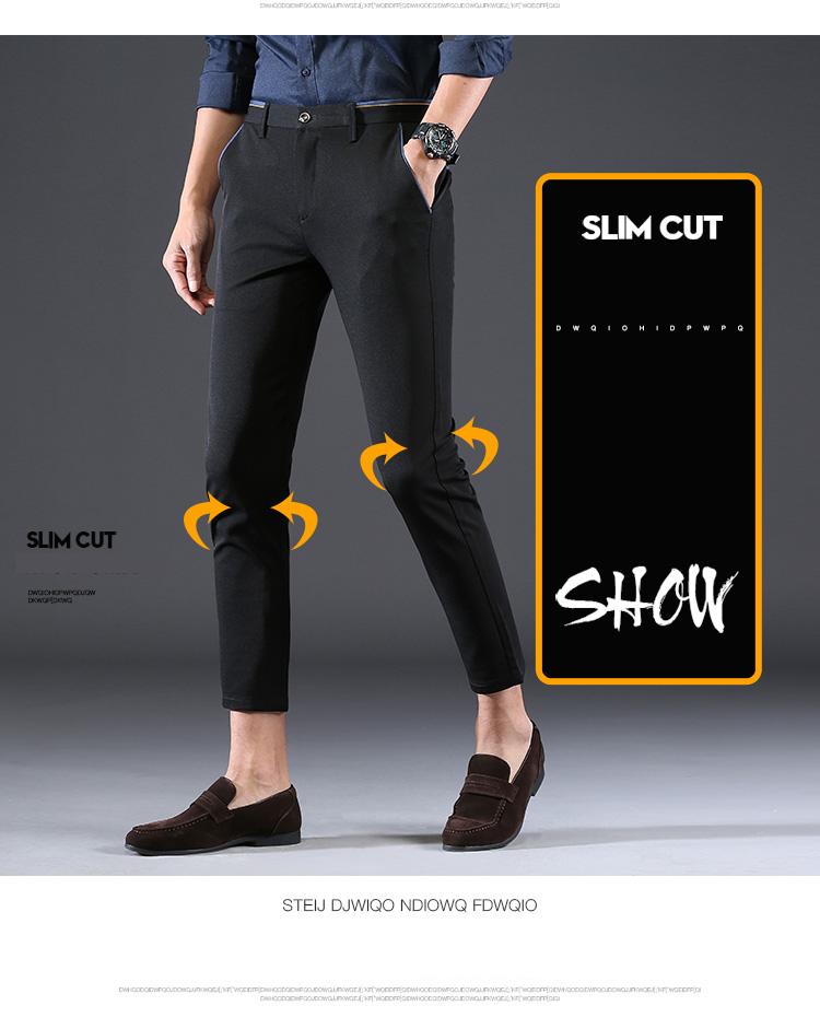 2018 Pring Summer Brand Clothing Men Casual Pants Business Slim Fit Elastic Ankle-length Pants Men's Skinny Pants Men Trousers 2