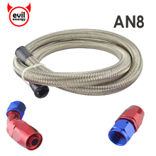 evil energy AN8 Stainless Steel Braided Oil Fuel Hose Line Silver 1M+AN8 Straight Hose End 45 Degree Swivel Oil Fittings
