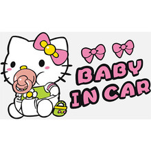 Baby On Board warn vinyl decal in car styling Hello Kitty accessories 3d cartoon stickers auto tail rear windscreen decoration
