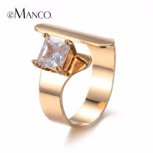 eManco Luxury Series Unique Open Ring for Women Crystal Trendy New Product Middle Finger Copper Ring Jewelry(China)