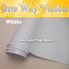 160 gsm Printable Solvent White One Way Vision White Perforated Window Vinyl Glass Film Digital Printing Size:1.07x50M/Roll