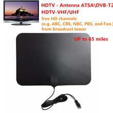 EU Plug HD High Definition TV Fox HDTV DTV VHF Scout Style TVFox TVScout ATSC Receiver Cable New Super Thin Flat Indoor Antenna(China)
