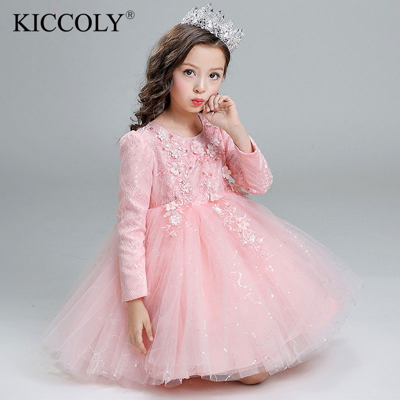 Top Quality Brand Girl Wedding Dress Sequin Princess Party Dress Kids Girl Tutu Dress Infants Long-sleeve Bridesmaid Clothes<br>