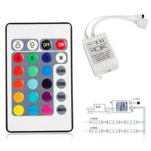 Practical Mini 24 Key IR Remote Controller Box DC 12V 6A For 3528 5050 RGB LED Light Strip H7