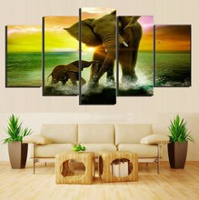 Elephant Family Play in Water Sunset Painting Canvas Printed Living Room Decor Print Poster Picture Canvas Wall Art Wholesale(China)