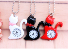 New Fashion red white Elegent Lovely Cat with Mirror Case Quartz Pocket Watch Analog Pendant Necklace Mens Womens Gifts