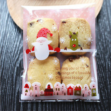 cheap!10*10cm 50pcs/set Xmas Santa Claus Candy Bag Cookie Gift box Self Adhesive Pouch Party Wedding christmas decoration -B(China)