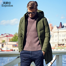Enjeolon Brand winter Cotton Padded long Jacket Men Windproof hoodies Parka army green black solid Thick Quilted Coat Men MF0014(China)