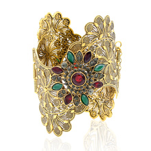 Vintage India Women Bracelet Armlet Wavy Edge Plus Size Bangle Open Type Roma Flower Gold Color Cuff Bangles Arab Dance Jewelry(China)
