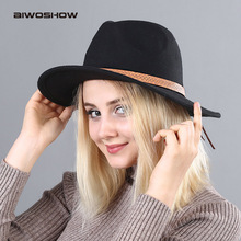 AIWOSHOW New Arrival Fedoras Vintage Felt Hats Women Ladies Fedoras Top Jazz Hat Winter Autumn Cap Cotton Round Cap Bowler Hats(China)