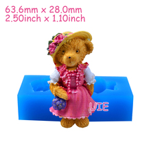 DYL529U 63.6mm 3D Girl Bear Silicone Mold - Animal Mold Fondant, Sugarcraft, Polymer Clay, Cookie Biscuit, Resin, Food Safe Wax