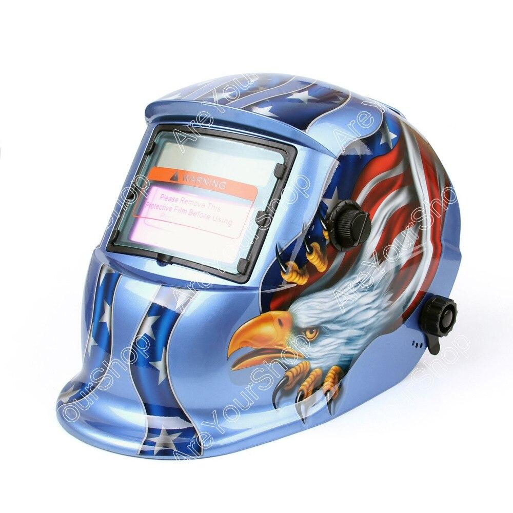 Areyourshop Darkening Welding Helmet Arc Tig Mig Mask Grinding Welder Solar Powered Mask 1Pcs New Blue for Welding Machine<br>