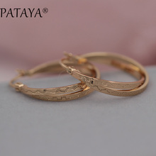 PATAYA New Multilayer Circle Golden Unique Earrings 585 Rose Gold Dangler Wedding Bridal Accessories Bohemian Jewelry Chandelier