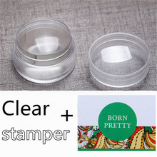 3Pcs/set 3.5cm Clear Silicone Jelly Nail Stamper with Cap Chess Design Nail Art Stamper & 2 Scraper Nail Art Decoration Set