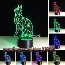 Kawaii Animal Shiny Cat 3D LED USB Lamp 7 Colors Changing Illusion Night Light Home Bedroom Desk Decoration Lighting Kids Toys