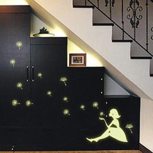 Glowing Wall Stickers Creative Night Luminous Beautiful Girl Dandelion Pattern Vinyl Decorative Decals for Kid Room Wall Decor