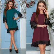 New Style Women Spring Summer Dress Casual Lace Mini  Party Dresses Dark Green Wine Red Vestidos Plus Size