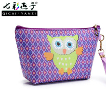 QICAI.YANZI 2017 Owl Handmade Cosmetic Bag Toiletry Animal Cartoon Travel Zipper Leather Makeup Waterproof Wash Organizer P459