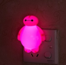 Red LED Snowman Nightlight lamp socket with switch plug creative small bulb feeding bedroom luminous energy