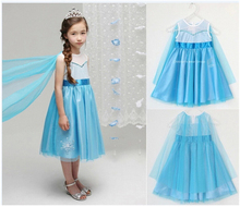 Free shipping!!2014 explosion Blue children's dress the princess skirt, white gauze blue children's princess dress